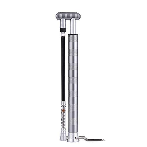 JIAGU Bomba de inflador de neumáticos para Bicicletas Pequeño Alta Presión Portátil Mini Bicicleta Bomba De Mano Vertical Baloncesto Inflable del Tubo con Barómetro (Color : Silver, Size : 282mm)