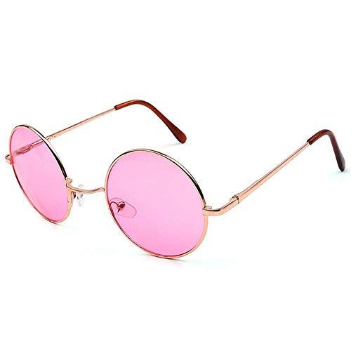 DLSM Gafas de Sol Color Color Color Redondo Gafas de Sol Mujeres Moda Gafas de Sol Mujeres Clásico Vintage Aleación Pink Transparente Lensación de Golf Gafas de Sol-Rosa Dorado