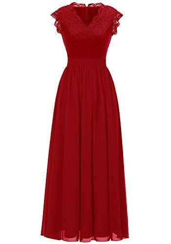 Dressystar Damen Elegant Ballkleider V-Ausschnitt Flora Spitze Chiffon Lang Cocktailkeider Abendkleider Rot 2XL