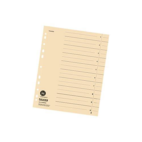 Original Falken 100er Pack Trennblätter. Made in Germany. Aus Recycling-Karton für DIN A4 hellchamois Trennlaschen Trennblätter Ordner Register Kalender Blauer Engel