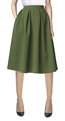 Urban CoCo Women's Flared A line Pocket Skirt High Waist Pleated Midi Skirt (L, Army Green)