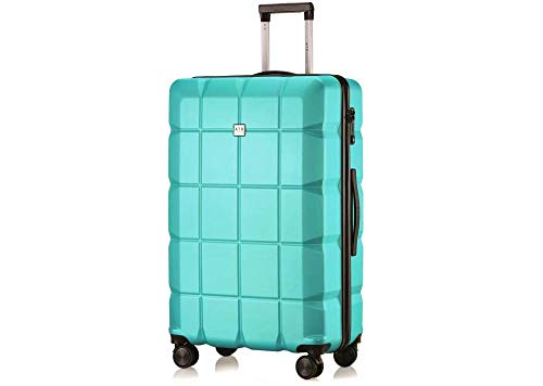 ATX Luggage 28 inch Large Super Lightweight Durable ABS Hardshell Hold Luggage Suitcases Travel Bags Trolley Case Hold Check in Luggage with 8 Wheels Built-in TSA Lock (28' Large, Mint Green 111)