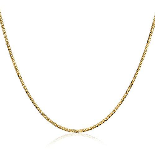 Orvoi Damen Weizenkette Halskette 14 Karat (585) GelbGold Goldkette 2mm breit 42+3cm lange