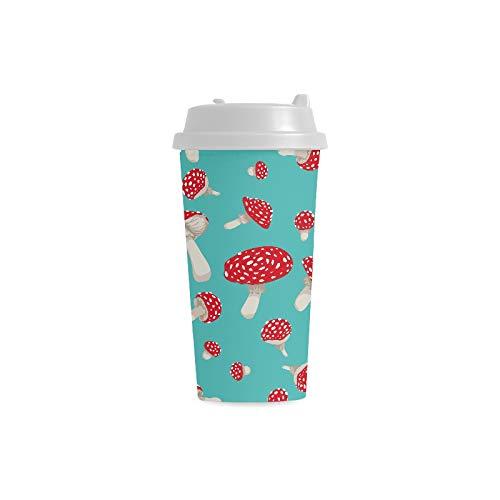 Plastikkaffeetassen Fliegenpilz Pilze Nahtloses Muster 16 Unzen Doppelwandige Plastikbecher Pendlerreise Kaffeetassen Für Frauen Trinken Sport Wasser Mädchen Becher