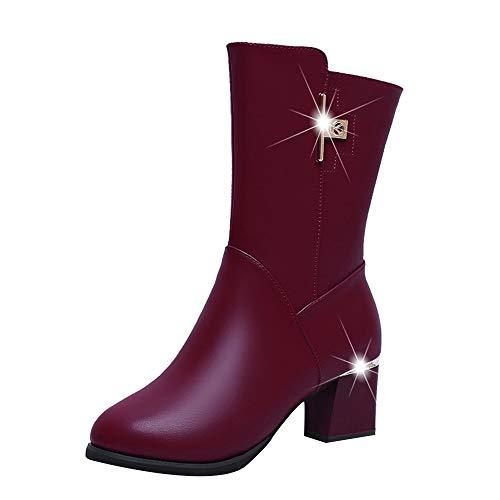 S&H-NEEDRA Frauen Fashion Square Leder Reißverschluss Warm Dicke Stiefel Runde Kappe Schuhe
