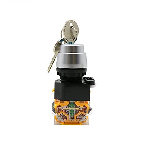 Botón LA38-11Y / 2 LA38-20Y / 3 22mm Selector de la tecla de Bloqueo Giratorio Securador de Llave de Bloqueo 2 3 Posición 1NO1NC 2NO con 2 Teclas Cierre del botón pulsador