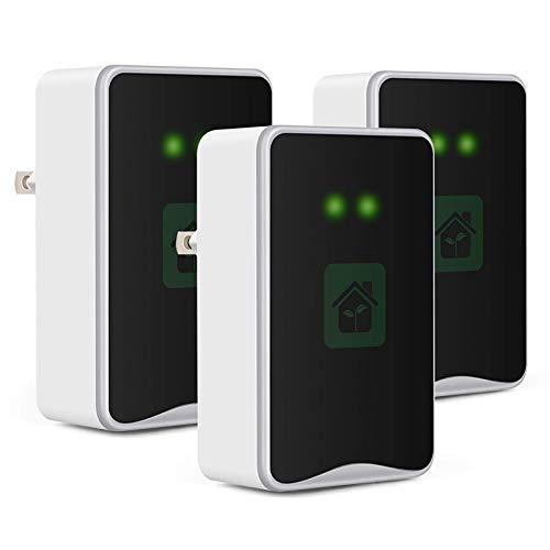 Plug-in Air Purifier, 3 Pack Air Purifiers for Home, Negative Ion Generator Mini Ionizer Air Purifier for Smoke, Odor, Portable Air Purifiers for Bedroom, Bathroom, Office - Black