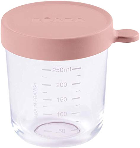 BÉABA Tarros de Conservación para Bebé, Tupper en Cristal, Resistente al calor, Recipientes para guardar la comida de Bebé, Con indicador de cantidad, 1x 250ml, Rosa
