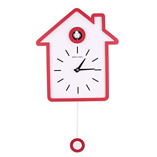 Germerse Reloj de Columpio Voces de pájaros Naturales Reloj de Pared Columpio Reloj de Cuco Moderno para Oficina en casa(Brilliant Red)