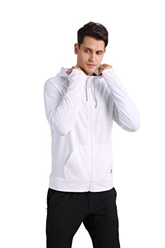 Running Jacket for Men, ARECON Men's fashion jackets Casual Tracksuit Long Sleeve Full-Zip Running Jogging Sports Hooded Jacket Fitness Gym Active T Shirts (White, X-Large)