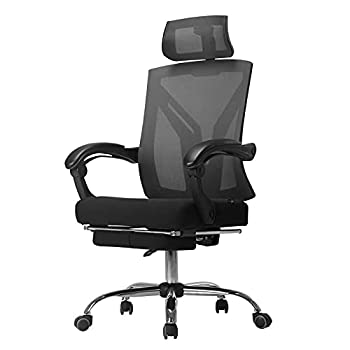 Hbada Ergonomic Office Recliner Chair - High-Back Desk Chair Racing Style with Lumbar Support - Height Adjustable Seat Headrest- Breathable Mesh Back - Soft Foam Seat Cushion with Footrest Black