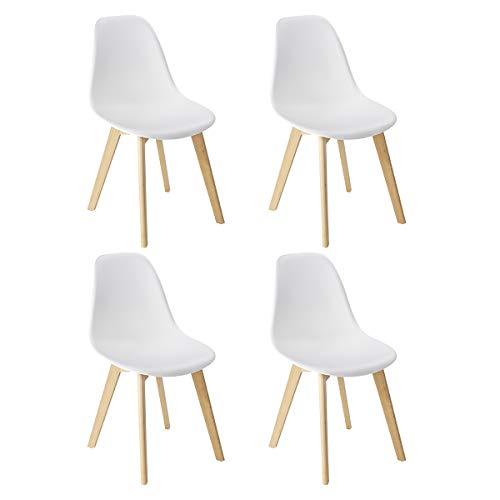 WENKO set di 4 sedie a conchiglia per sala da pranzo, bianche, lavabili, gambe in legno...