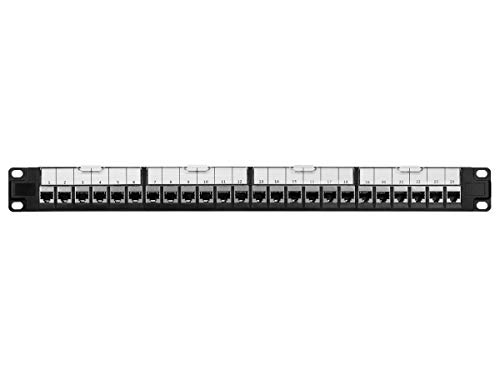 Monoprice Cat6 19in 1U Patch Panel with Loaded Keystone Shielded 24...