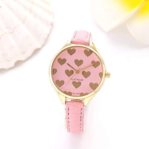 Exquisito, hermoso, decente, novedoso y único. Relojes de mujer Súper Thin Strap Little Peach Heart Belk Watch Gold Love Peach Dial Lady Watch Ladies Girls Casual Decorativo Relojes ( Color : Pink )