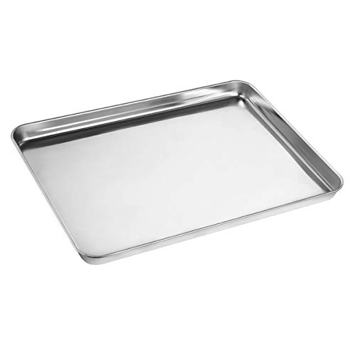 Baking Sheet, Yododo Stainless Steel Baking Pans Tray Cookie Sheet Toaster Oven Tray Pan Cookie Pan, Non Toxic & Healthy, Superior Mirror Finish & Rust Free, Easy Clean & Dishwasher Safe - 9 inch