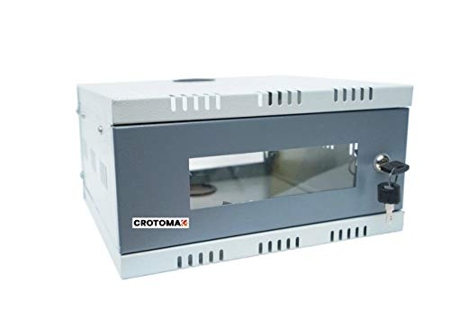 Crotomak 1U Rack - DVR Rack/CCTV Rack/NVR Rack/Server Rack/Network Rack with 3 Power Socket Plug - Transparent Glass Door - Metal Cabinet Box - Wall Mount (Size 1: 30cm X 30cm X 15cm)