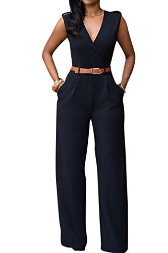 Pink Queen Women's Elegant V Neck Long Loose Belted Rompers Jumpsuits Black X-Large