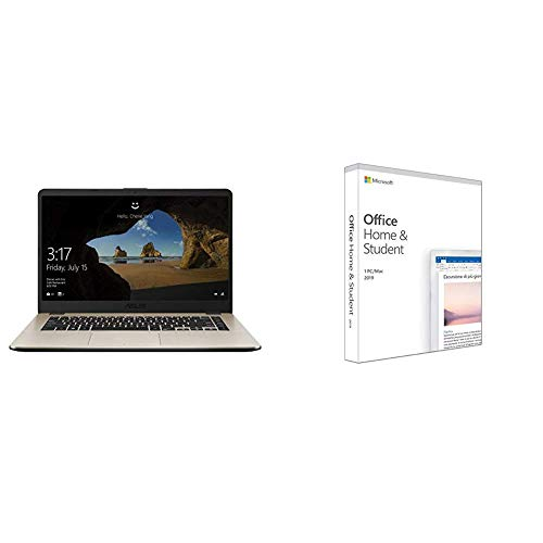 """ASUS Vivobook A505ZA-BR712T, Notebook con Monitor 15,6"""" HD No Glare, AMD Ryzen 3 R3-2200U, RAM 8 GB DDR4, SSD da 256GB, Scheda Grafica Condivisa, Windows 10 + Microsoft Office Home & Student 2019"""
