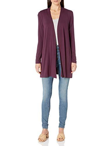 Amazon Essentials Long-Sleeve Open-Front Cardigan-Sweaters, Burgunderrot, US L (EU L - XL)