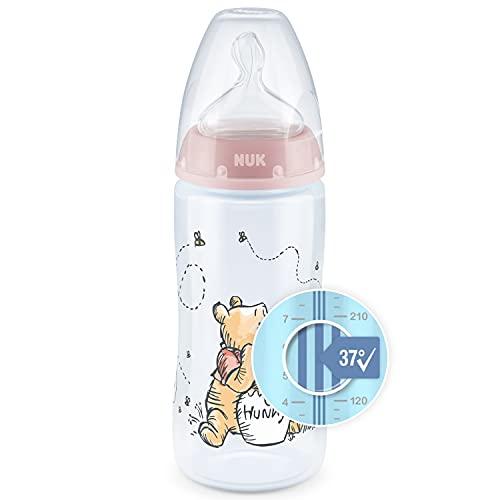 NUK First Choice+ biberon | 6-18 mesi | Controllo temperatura | Sfiato Anti-Colica | Senza BPA | 300 ml | Tettarella in silicone | Disney Winnie the Pooh | Rosa