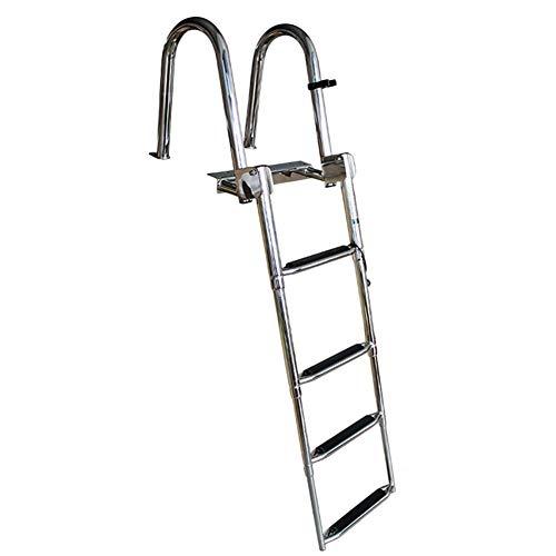 Escalera telescópica Escalera De Cubierta De Barco De Pontón De Acero Inoxidable Premium De 4 Pasos, Escalera De Acoplamiento Telescópica Plegable para Piscina De Muelle De Yates, Capacidad De 550 LB