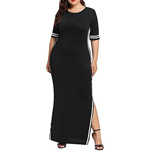 GMZVV Rok L-xxxxxl Plus Size Kleuren Vrouwen Mode Lange Jurk Casual Slanke Streep Split Halve Mouw Elegante Vrouw Jurken Gekleed Met Temperament En Elegantie 4XL Zwart