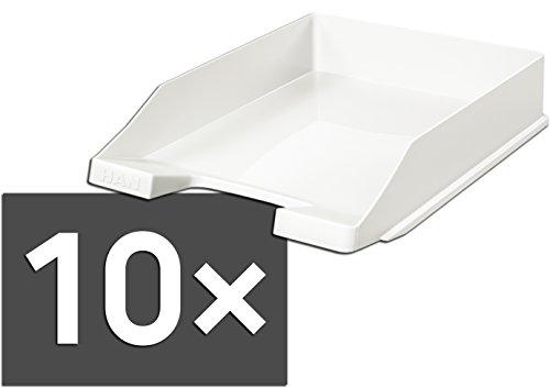 HAN 1027 Briefablage KLASSIK, DIN A4/C4, stapelbar, stabil, modern (weiß / 10er Pack)