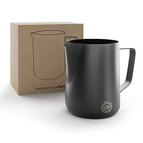 BRAVE ELEPHANT ® Milchkännchen Edelstahl 350ml [Black Mat] | Rostfreie Milchkanne Edelstahl für Latte Art | Barista Milchkännchen Teflon beschichtet schwarz | Innovatives Milchschaumkännchen