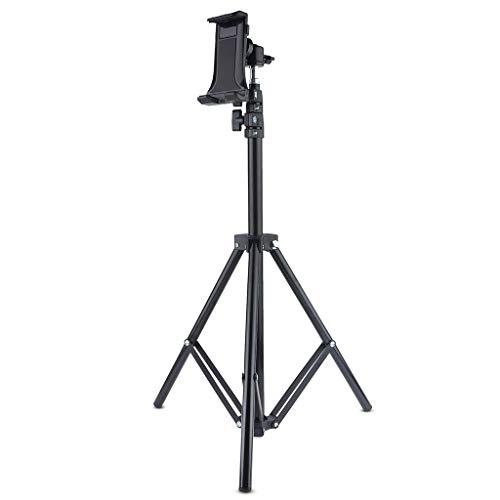 MENGSHI Soporte de trípode giratorio de metal de 360°, soporte plegable para tableta, altura ajustable, soporte de transmisión en vivo para teléfono móvil de 4 a 12 pulgadas, duradero y práctico