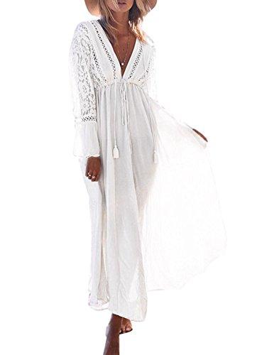 Minetom Mujer Boho Sexy Encaje Crochet Bikini Cubrir Cover Up Pareos Verano Casual Suelto Vestido Largo de Playa Vacaciones Sundress Blanco Tamaño Libre (ES 34-44)