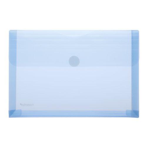 Transparent-Umschlag A5, Dehnfalte, PP blau transluzent, 10 Stück