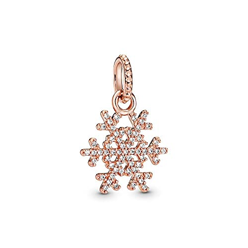 Pandora 925 Sterling Silvercharm Crystal Nowflake Pendant Fit Women Necklace diy Love Jewelry