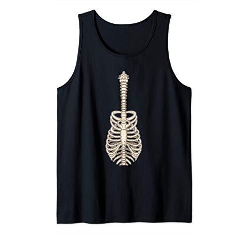Divertido Guitarrista Esqueleto Jaula de Costillas Guitarra Camiseta sin Mangas