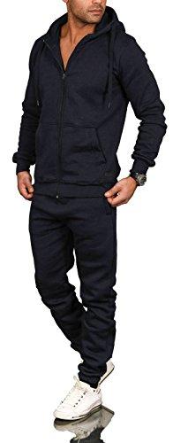 A. Salvarini Herren Jogging Anzug Trainingsanzug Sportanzug Sweatshirt AS071 [AS-071-Navy-Gr.4XL]