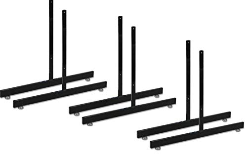 Only Hangers T-Shape Gridwall Panel Legs Display with Levelers - Box of 3 Pairs (6 Individual Legs) - Black - Work with All Standard Grid or Slatgrid Panels (B019YZHQWG)