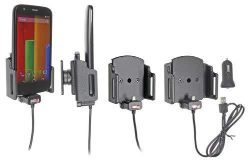 Brodit 521620 apparaathouder actief op USB incl. autolaadadapter voor universeel, geschikt voor apparaten met of zonder beschermhoes, breedte: 62-77 mm, dikte: 6-10 mm.