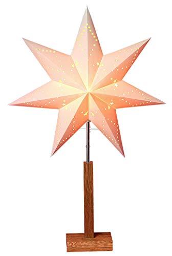 Star 232-01Karo Stern auf Holzständer/Papier beige/Eiche 70x 43cm