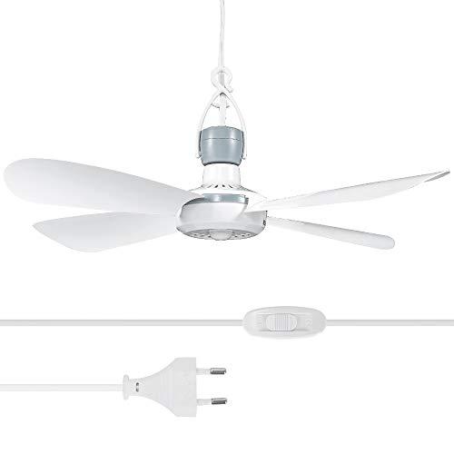 Yorbay Mobiler Deckenventilator Ø42cm Mini Ventilator mit Aufhänger und Schalter, mit 2,8m langem Kabel