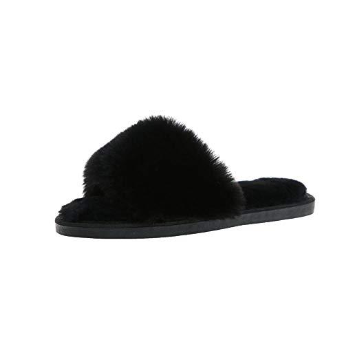 Zquest Pantuflas Flip Flop, Pantuflas de Felpa Antideslizantes de Interior para Damas, Pantuflas de algodón cómodas para Todo Partido-Black_38