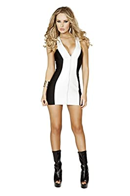 Roma Women's Mini Dress with Full Zip Up Front, White, Small