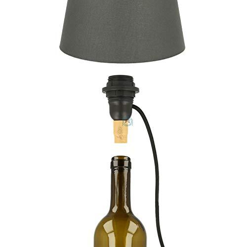 Flairlux E27 Lampenfassung für Flaschen im Kit Inkl. Textilkabel, Stecker und Schalter. Universell zur Beleuchtung aller Flaschen.