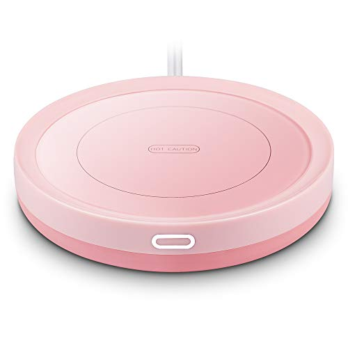Smart Coffee Warmer, BESTINNKITS Auto On/Off Gravity-induction Mug Warmer for Office Desk Use, Candle Wax Cup Warmer Heating Plate (Up To 131F/55C) (Pink)