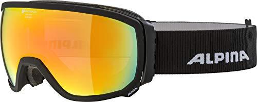 ALPINA Unisex - Erwachsene, SCARABEO QMM Sph. Skibrille, black matt, One size