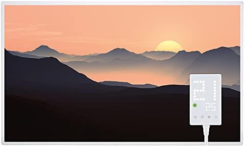 Heidenfeld Infrarotheizung HF-HP105 600 Watt Sonnenaufgang Fotomotiv + HF-DT100 - 10 Jahre Garantie - Deutsche Qualitätsmarke - TÜV GS - Für 8 - 16 m² Räume (600 Watt, Sonnenaufgang)