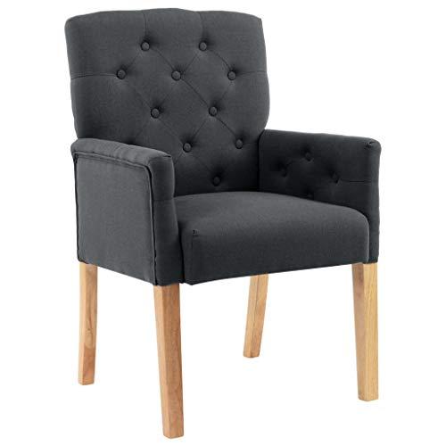 vidaXL Esszimmerstuhl mit Armlehnen Küchenstuhl Polsterstuhl Stuhl Sessel Wohnzimmerstuhl Essstuhl Lehnstuhl Esszimmer Grau Stoff Holzbeine