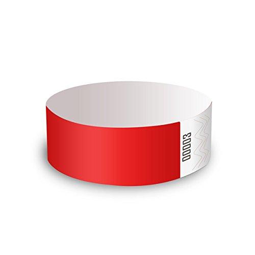 ClubKing - Juego de pulseras (fibras de polietileno Tyvek, 100 unidades), color rojo