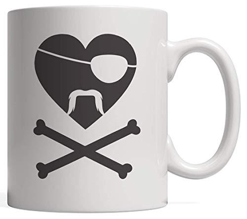 N\A Bigote Pirata Corazón Taza del día de San Valentín Taza de cerámica Divertido y romántico Regalo del día de San Valentín para Parejas Lindas Que aman los Barcos Piratas y los Barcos.
