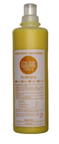 ECOLAVO Stoviglie - 4 in 1 - Detergente Igienizzante Brillantante Deodorante - 1 Litro