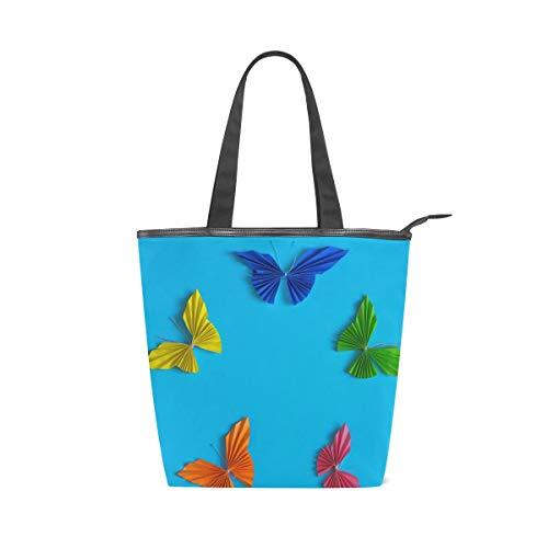 Rootti Colorido Origami Mariposa Bolsas de lona Bolso de hombro para mujeres mujeres Niñas Bolsa de viaje reutilizable Bolsa de viaje Bolsa de compras Bolsa de manija