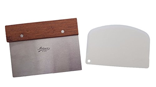 """Ateco Bench Scraper, 6"""" x 3 Inch Stainless Steel Blade Wood Handle Bundled With Ateco Bowl Scraper"""